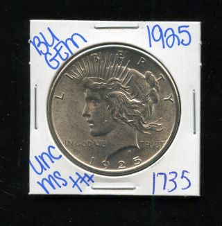 1925 Bu Gem Silver Peace Dollar 1735 Shipping/rare Estate/unc Ms, photo
