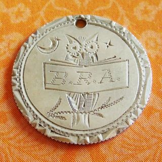 Vintage Owl B.  R.  A.  Sunshine Motif 92 Love Token 2 - Side Hand - Engraved Coin Charm photo