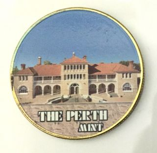 1 Oz The Perth Finished In 24k Gold Coloried Commemorative Coin photo