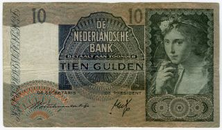 Netherlands 1940 Issue 10 Gulden Note.  Pick 56a. photo