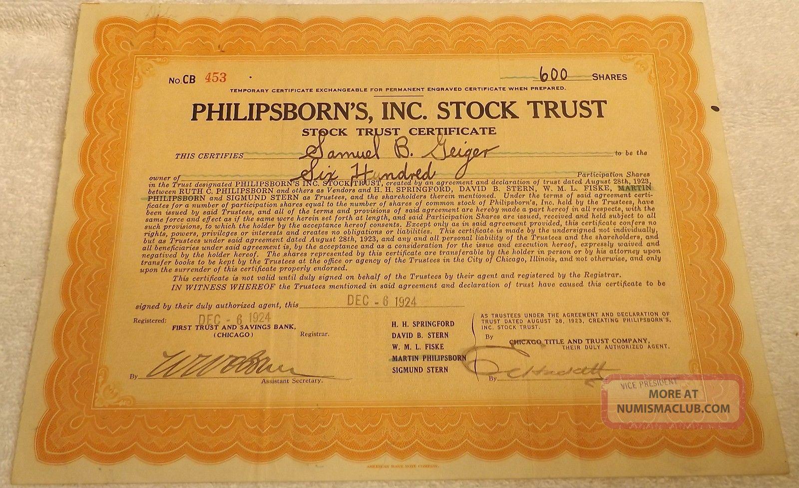Philipsborn ' S Inc.  Stock Trust Stock Certificate For 600 Shares Dec.  1924 Stocks & Bonds, Scripophily photo