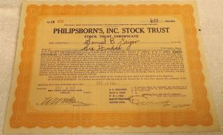 Philipsborn ' S Inc.  Stock Trust Stock Certificate For 600 Shares Dec.  1924 photo