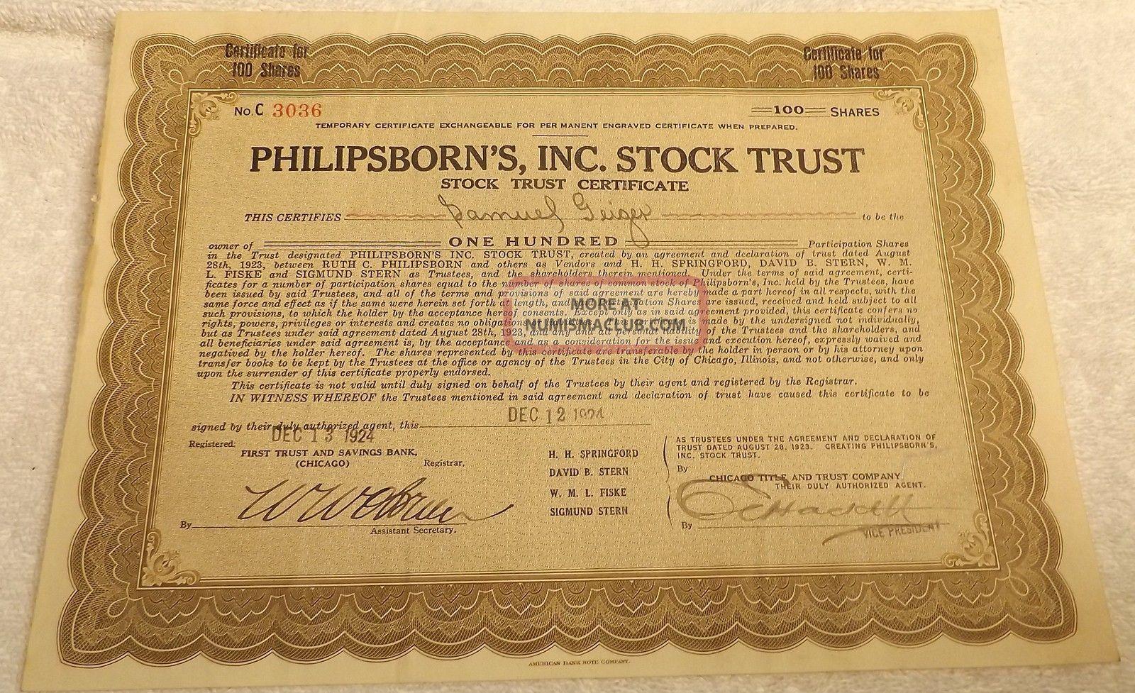 Philipsborn ' S Inc.  Stock Trust Stock Certificate For 100 Shares Dec.  1924 Stocks & Bonds, Scripophily photo