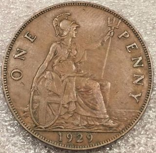 1929 Great Britain British Penny Vintage Large Bronze Coin photo