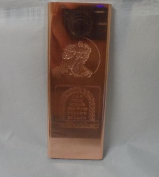 Troy Pound Walking Liberty.  999 Fine Copper Bullion Art Bar Ingot photo