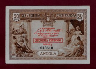 Portugal Portuguese Angola 50 Centavos 1923 P - 63 Vf,  (west Africa East) photo