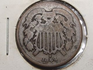 Civil War Era 1864 Us 2 Cent Penny.  3 photo