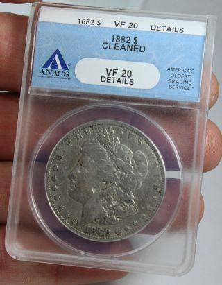 1882 - P Morgan Silver Dollar Anacs Vf 20 Details Coin photo
