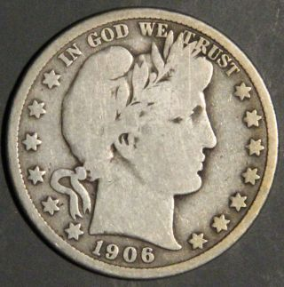 1906 Barber Half Dollar Grade Vg As Pictured Inv 1534 photo
