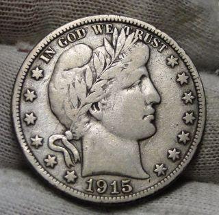1915s Barber Half Dollar 50 Cents - Semi - Key Date,  (4811) photo