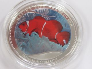 2011 Palau Anemone/ Marine Life Protection Silver $1 Coin With S/h photo