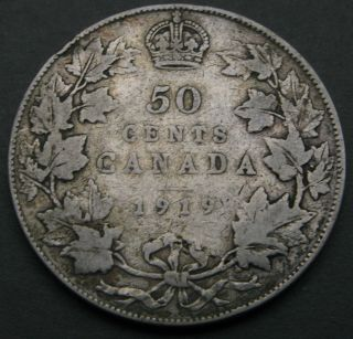 Canada 50 Cents 1919 - Silver - George V.  1835 photo