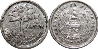 Guatemala 5 Centavos 1955,  Silver,  Vf,  Strong Double Die,  Rare photo