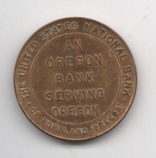 Vtg Brass Advertising Token United States National Bank Ladd & Bush Salem Oregon photo