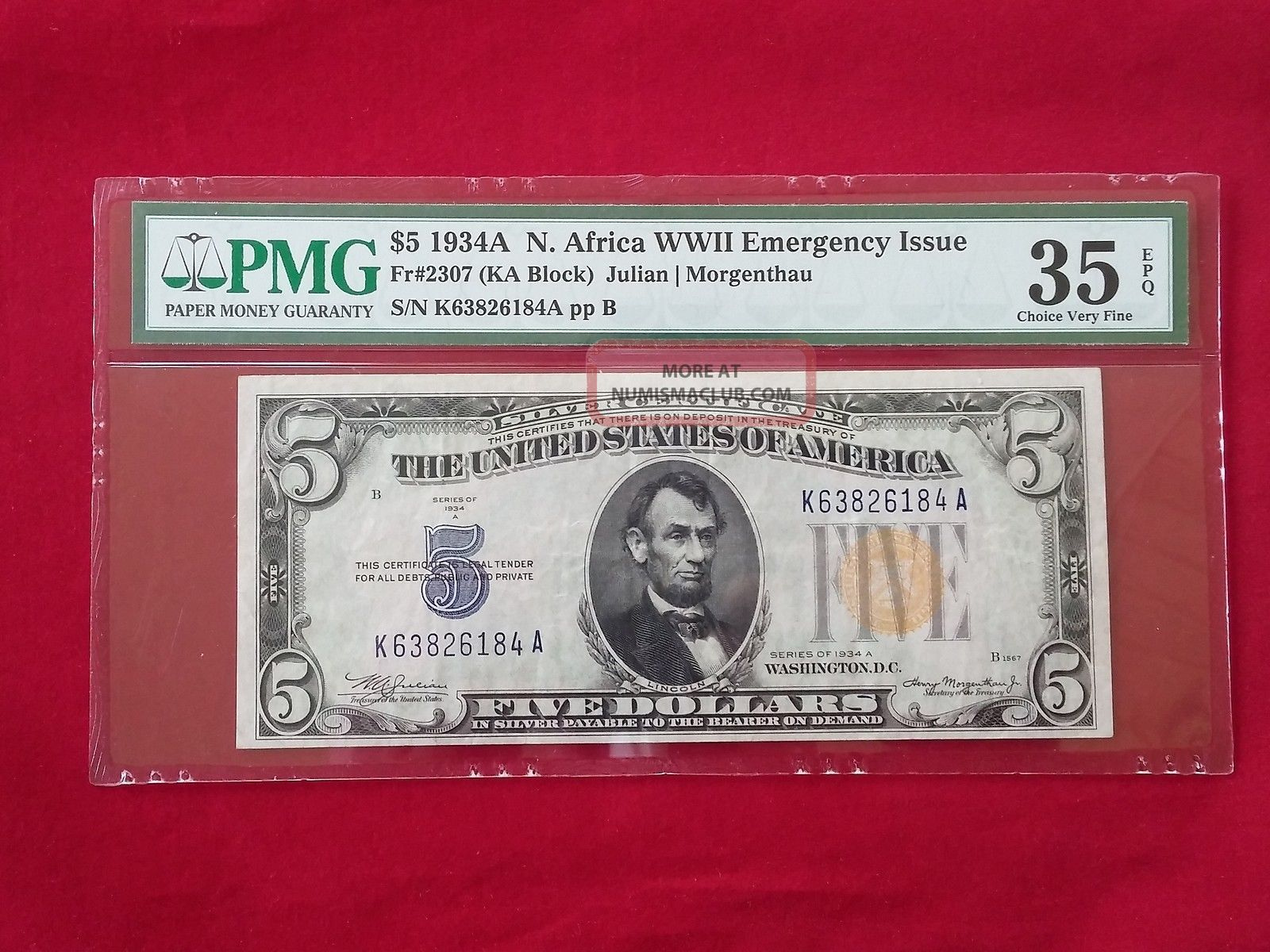 Fr - 2307 1934 A Series North Africa Wwii $5 Silver Certificate Pmg 35 Epq Vf Small Size Notes photo