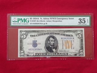 Fr - 2307 1934 A Series North Africa Wwii $5 Silver Certificate Pmg 35 Epq Vf photo