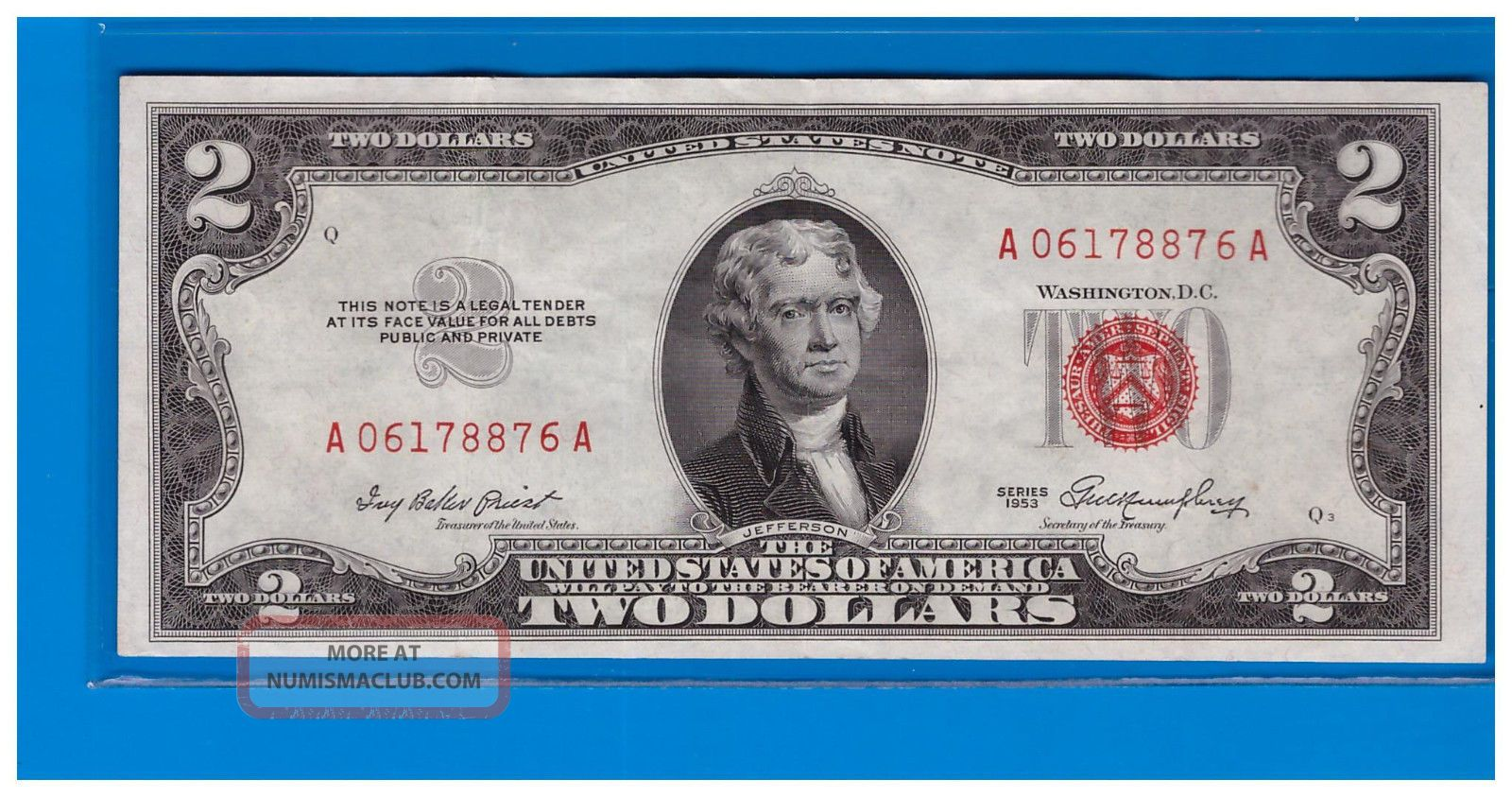 1953 $2 Dollar Bill Old Us Note Legal Tender Paper Money Currency Red Seal C744 Small Size Notes photo