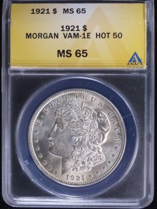 1921 $1 Morgan Silver Dollar Anacs Ms65 Vam - 1e Pitted Reverse photo