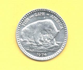 Bear Token 1974 Fish And Game Buzzard Coin photo