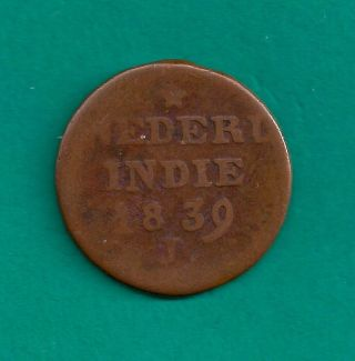 1839 - J Netherlands East Indies 2 Cents (double Duit) Island Of Dutch Sumatra photo