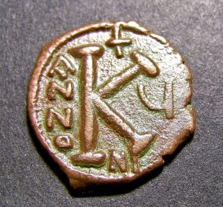 Justin Ii & Sophia Enthroned,  Christian Crosses In 6th Cent Ad,  Byzantine Coin photo
