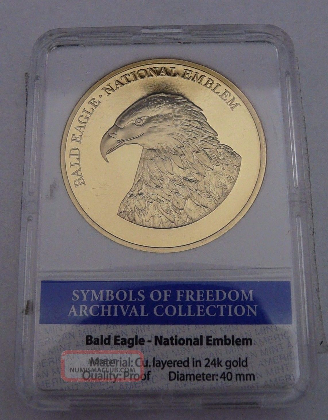 American Symbols Of Freedom Bald Eagle Coin Proof Layered In 24k