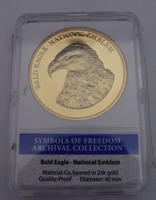 American Symbols Of Freedom Bald Eagle Coin Proof Layered In 24k Gold Coin photo