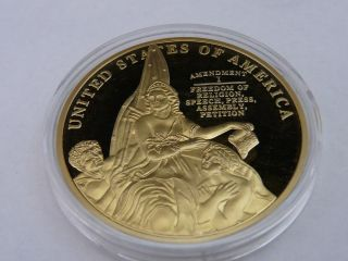 2013 U.  S Constitution Bill Of Rights Proof 24k Gold Layered Coin W/coa photo