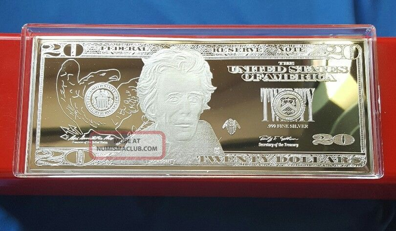 1 Troy Oz 999 Fine Silver Jackson 20 Dollar Bill Note