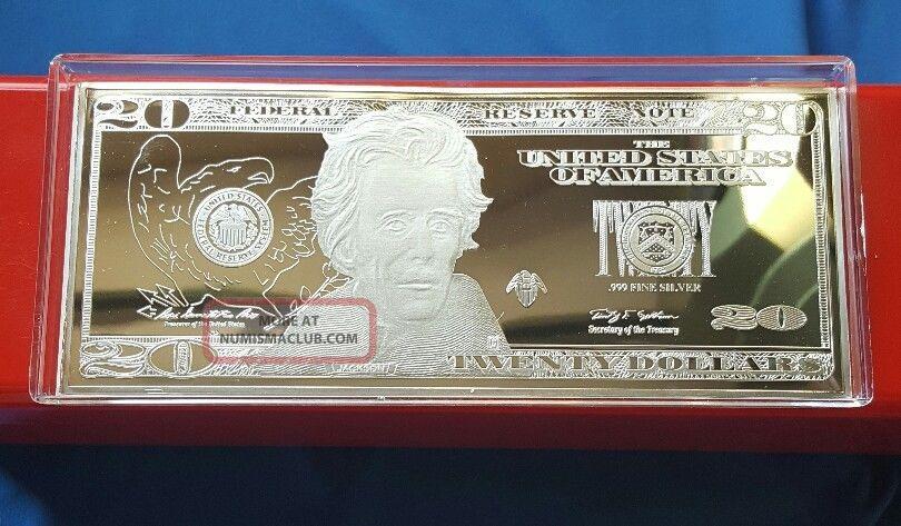 1 Troy Oz 999 Fine Silver Jackson 20 Dollar Bill Note