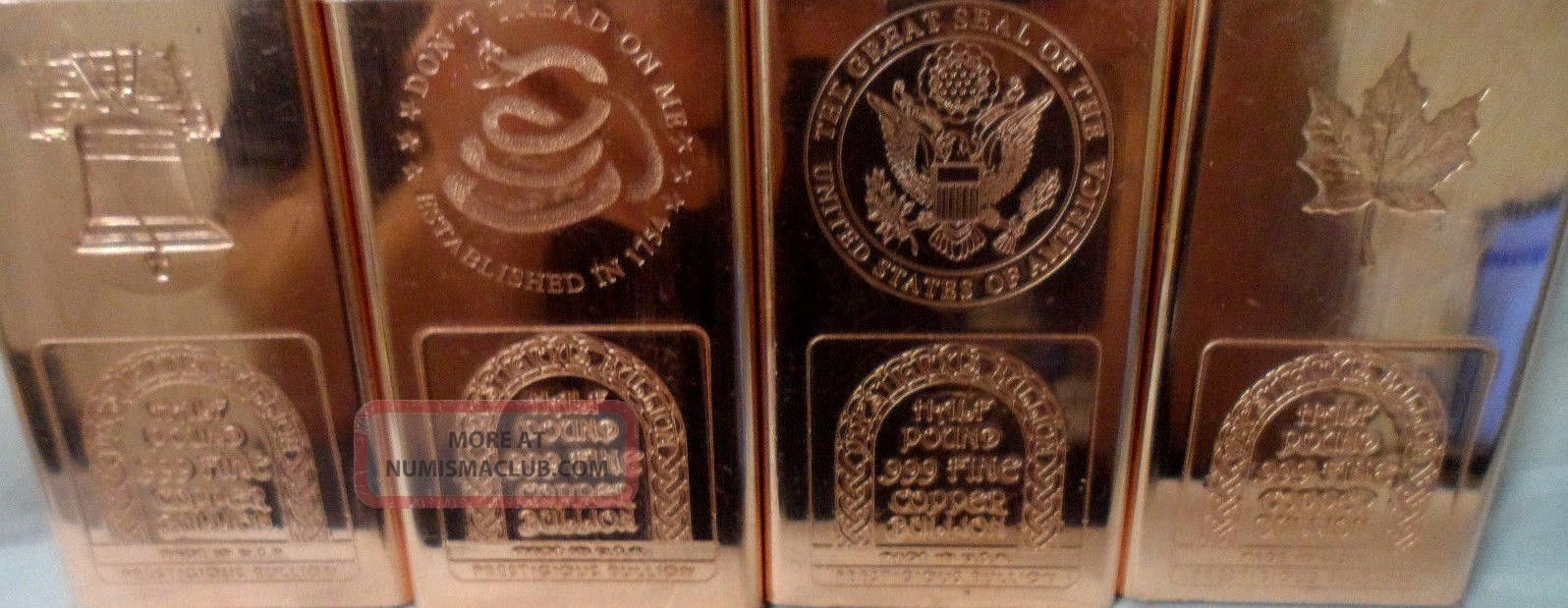 Half Pound Random Pick Patriotic 999 Copper Bullion Bar Ingot