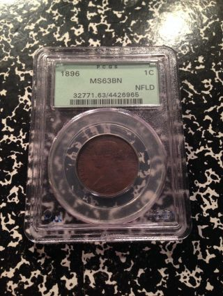 1896 Newfoundland Large Cent Pcgs Ms63 Brown Ga023 Scarce Coin Old Green Holder photo
