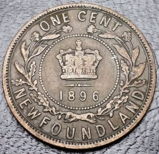 1896 Newfoundland Canada Large Cent Penny Only 200k Minted Combined S/h photo