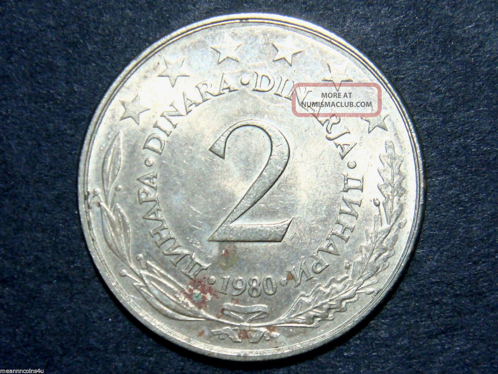 1980 Yugoslavia 2 Dinara,  Doubled Die Obverse - Au Coins: World photo