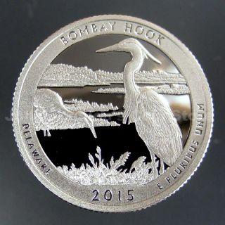 2015 - S Bombay Hook National Park Quarter - Gem Proof Deep Cameo (90 Silver) photo