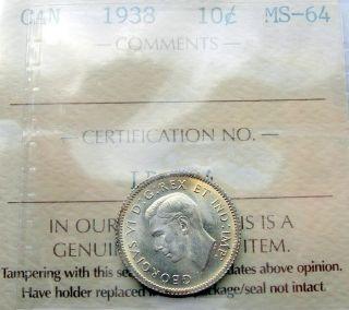 1938 Ten Cents Certified Select Ms Bu Scarce Agem George Vi Key Dime photo