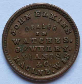 1863 John Elkins Racine Wi Civil War Store Card Token,  F - 700c - 2a,  R7 (091100f) photo