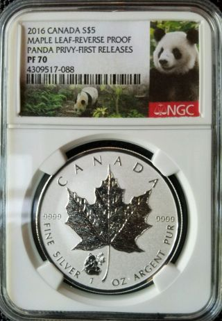 2016 $5 Canada 1 Oz Silver Maple Leaf Ngc Pf70 Panda Privy Rev.  Proof Very Rare photo