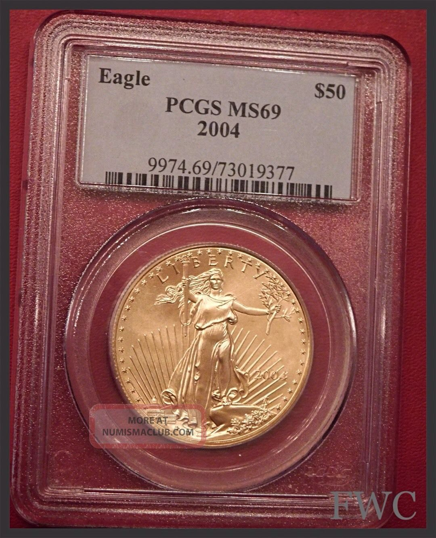 2004 American Gold Eagle Coin Liberty 1 Oz 50 Pcgs Ms69 Fine Gold