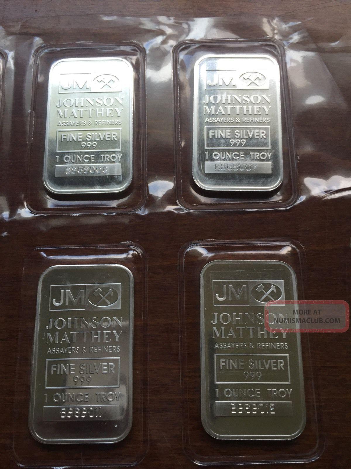 1 Oz Silver Bar Johnson Matthey W Consecutive Number Canada