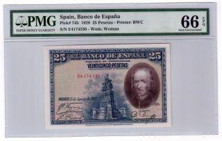 Spain 25 Pesetas Banknote 1928 Pick 74b Pmg Gem Unc 66 Epq photo