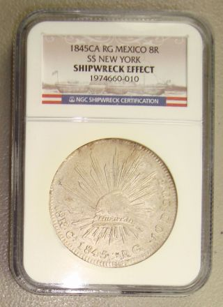 1846 Ss York Shipwreck Recovered 1845ca Rg Mexico Silver 8 Reales Ngc photo