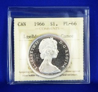 1966 Canada Silver Dollar $1 Coin Iccs Pl - 66 - Large Beads/heavy Cameo photo
