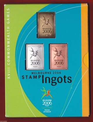 Melbourne 2006 Stamp Ingots,  Gold Silver And Bronze,  Ram & Aust Post Rrp $99.  95 photo
