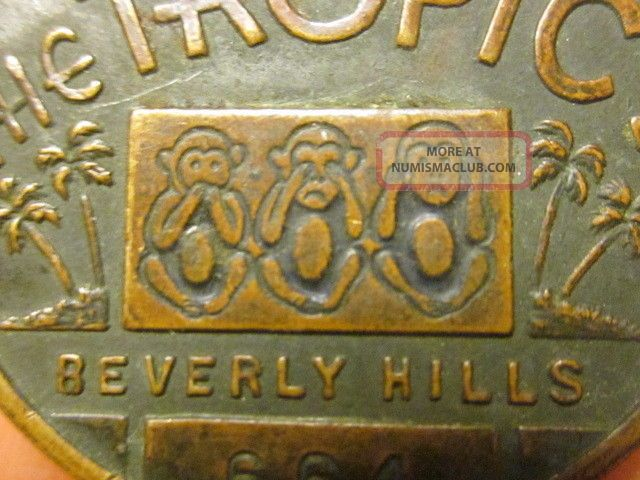 Sugies / The Tropics Vintage Hollywood Good Luck Charm / Medal Beverly Hills,  Ca Exonumia photo