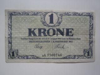 1921 Denmark 1 Krone photo