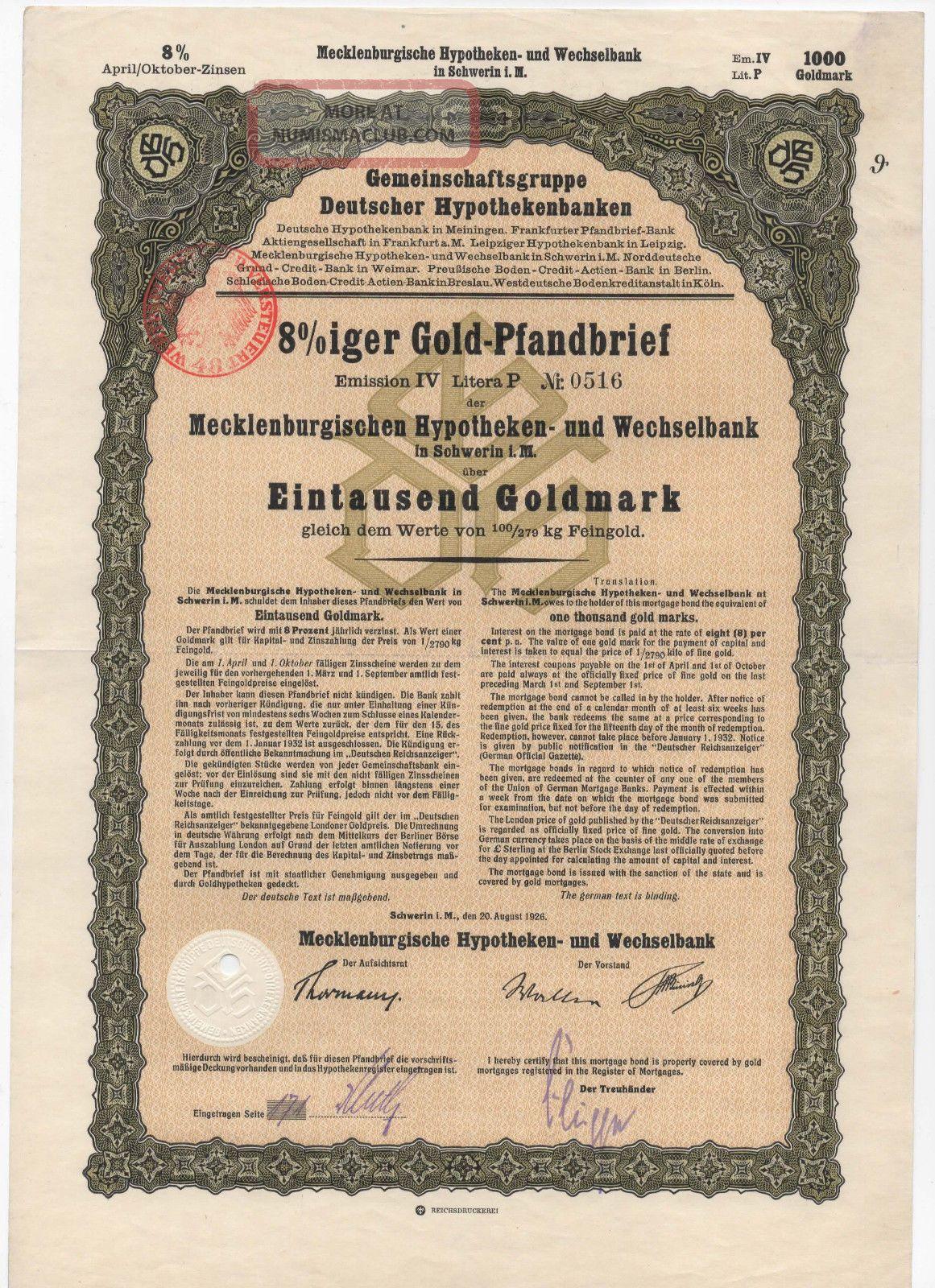 1926 8 Goldpfandbrief 1000 Goldmark Stock Bond Certificate Germany Stocks & Bonds, Scripophily photo