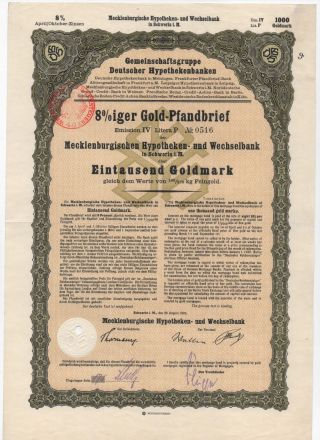 1926 8 Goldpfandbrief 1000 Goldmark Stock Bond Certificate Germany photo