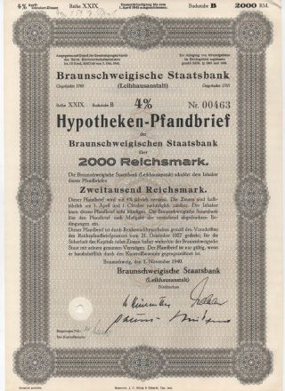 1940 4 Hypothekenpfandbrief 2000 Reichsmark Stock Bond Certificate photo