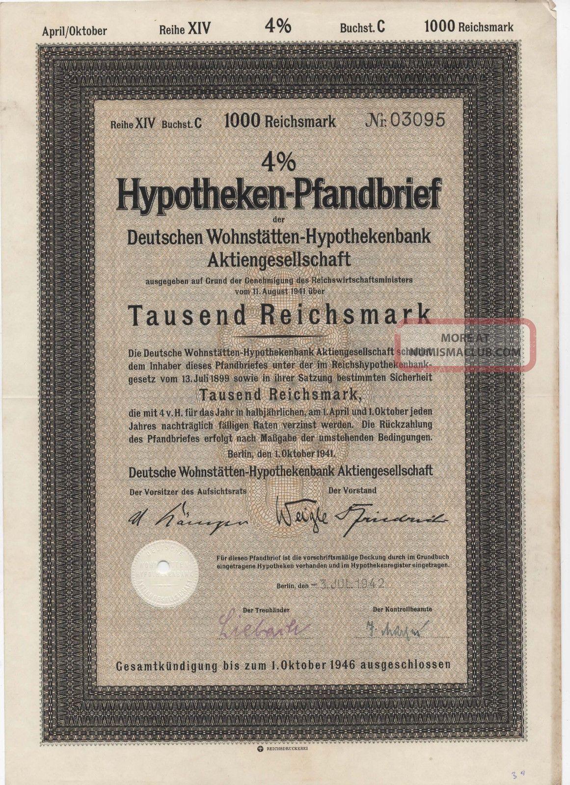 1942 4 Hypotheken Pfandbrief 1000 Reichsmark Stock Bond Certificate 2 Stocks & Bonds, Scripophily photo